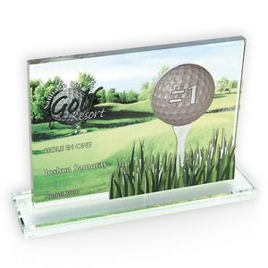Rectangle on Base Glass Golf Award/Trophy