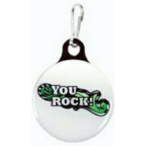 "Zipper Pull Charm / Tag (1 1/8"" Single Sided Dome with Metal Backer)"