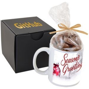 Soft Touch Gift Box with Full Color Mug and Chocolate Covered Almonds