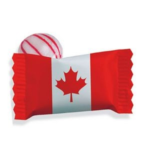 Red Striped Peppermint Candy w/ Stock Canadian Flag Wrapper